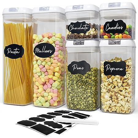 Lot de 6 boîtes hermétiques- Boîtes de conservation alimentaire pour rangement de la cuisine — En plastique transparent boîte conservation Spaghetti, Pâtes, Epices