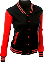 Xpril Women's Stylish Color Contrast Long Sleeves Varsity Jacket