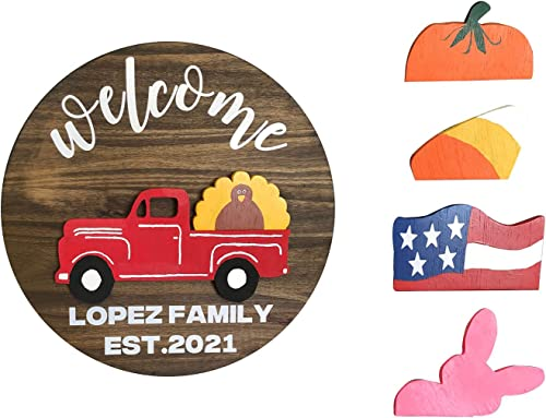 """new arrival Truck Welcome Sign for Front Door Red Truck Decor with 4PC Interchangeable Seasonal Icons Farmhouse Wooden Wall discount Hanging for Valentines Easter Christmas Holiday Door Hanger online sale Decorations, 12"""" online"""