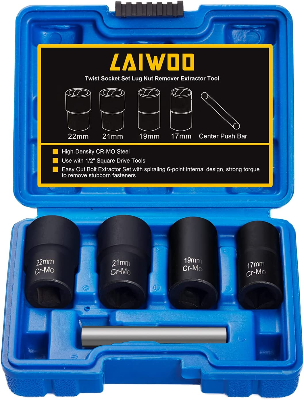 LAIWOO Twist Socket Set Purchase Lug Nut Our shop OFFers the best service Extractor Tool Remover 1 CR-MO