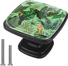 4 Pack Kabinet Deurknoppen Vierkante Lade Handvat Hardware Staal met Schroef voor Keuken Badkamer Slaapkamer Tropisch Groen