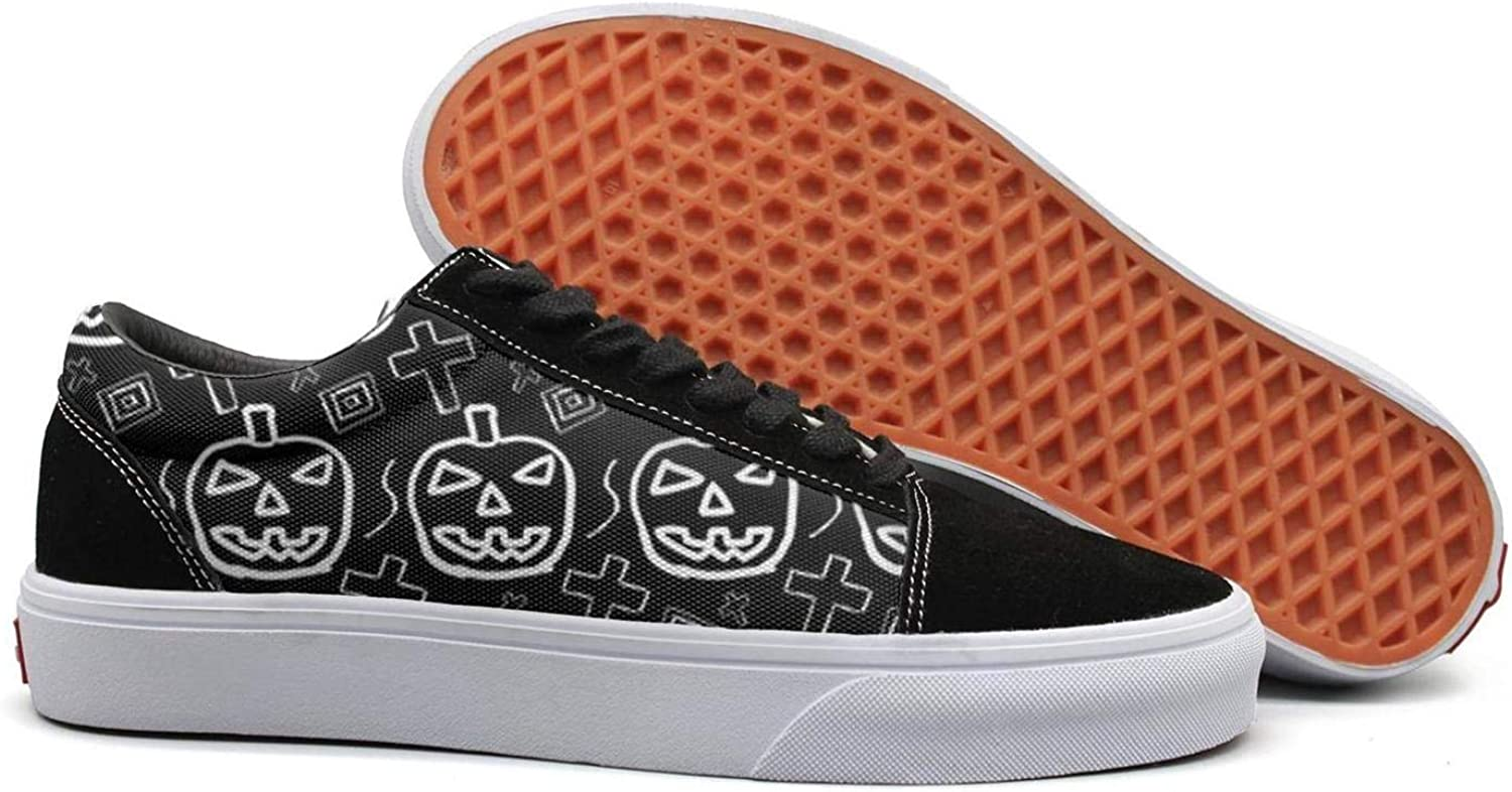 Halloween Pumpkin Pattern Womens Canvas Upper Sneakers Lace up Cute Rubber Sole Loafer Canvas shoes