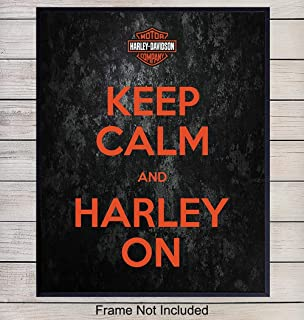Keep Calm Harley Davidson Typography Art Print - Rustic Wall Art Poster - Unique Home Decor for Garage, Man Cave, Den - Gift for Men, HOG Riders, Bikers - 8x10 Photo Unframed