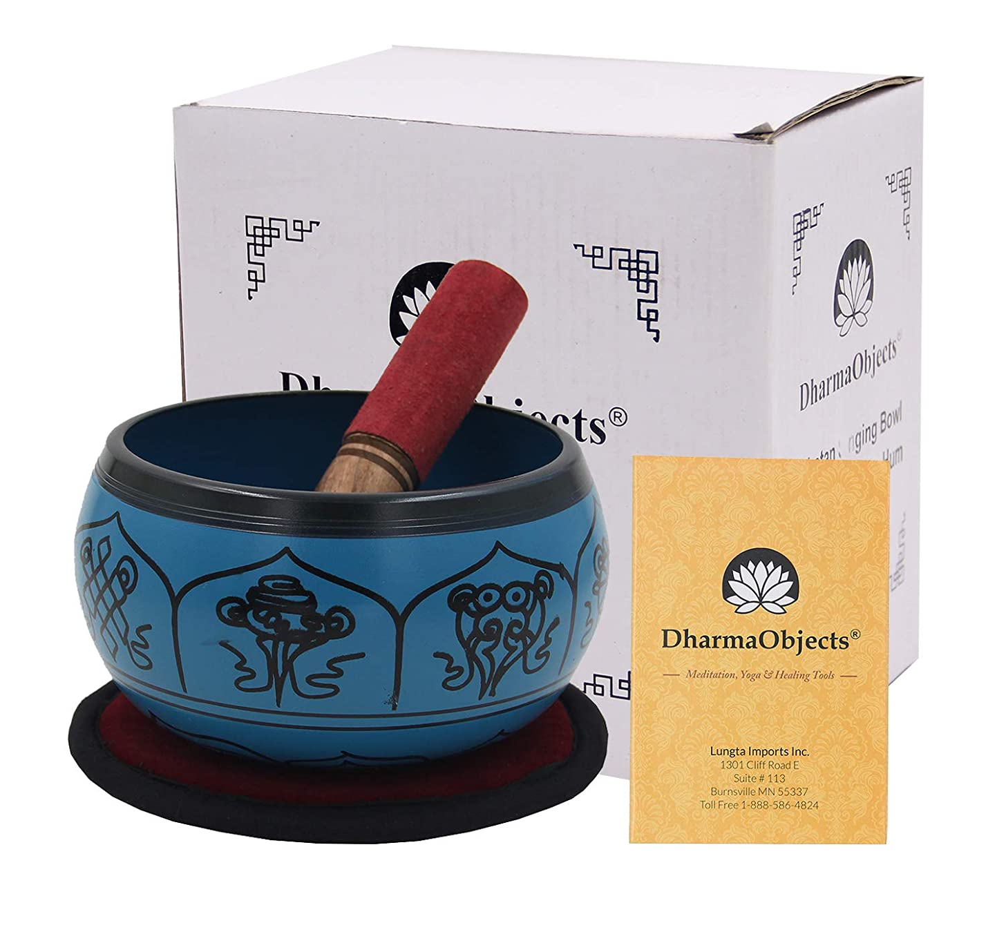 DharmaObjects Yoga Meditation 6 Inches 8 Lucky Symbols Singing Bowl/Cushion/Leather Mallet Gift Set (Turquoise)