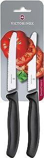 Victorinox 6.7833.B Set de 2 Couteau à tomates et de Table Tranchant denté, Acier Inoxydable, Noir, 30 x 5 x 5 cm