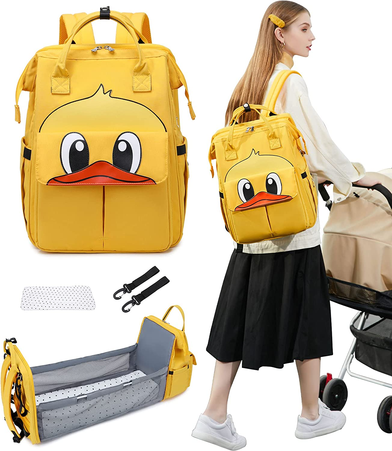 Diaper Bag with Changing Station, Bag Backpack Travel Foldable, Large Capacity Mummy Diaper Bag Backpack with Design
