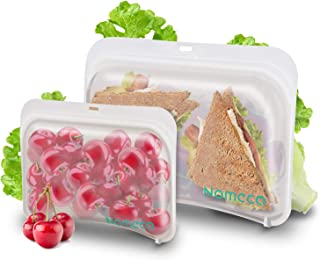 Reusable Silicone Food Bags, Nomeca BPA-FREE Reusable Sandwich Bags Lunch Bag Snack Containers Eco-Friendly Storage Bags Sous Vide Freezer Microwave Dishwasher Safe Airtight Leakproof (2 Packs)