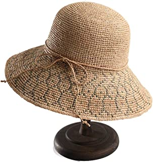XinLin Du 2019 Sun Hat Lafite Summer Sun Hat Wide-brimmed Hat Beach Hat Girl Out Folding Collapsible Fisherman Hat Bow