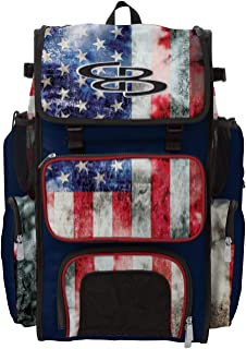 Boombah Superpack Bat Pack -Backpack Version (no Wheels) - Holds 2 Bats - Ink USA Series - Multiple Color Options - for Baseball or Softball