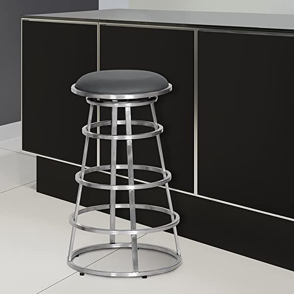 Armen Living LCRISW26BAGRB201 Ringo 26 Counter Height Barstool In Grey Faux Leather And Brushed Stainless Steel Finish