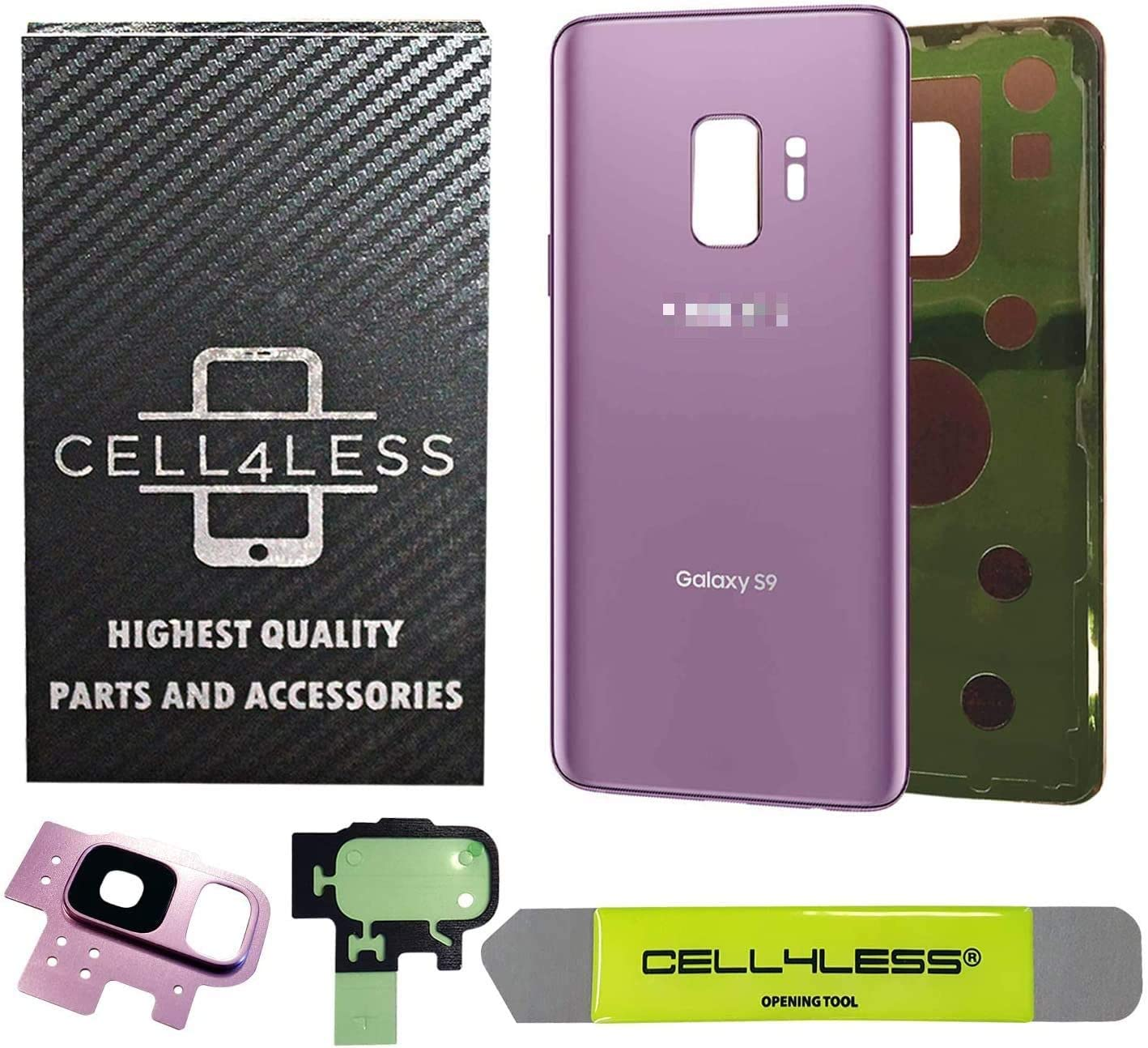 CELL4LESS Compatible Back Glass Cover Back Battery Door w/Pre-Installed Adhesive - Removal Tool - Camera Lens for Samsung Galaxy S9 OEM - All Models G960 All Carriers- 2 Logo OEM Replacement (Purple)