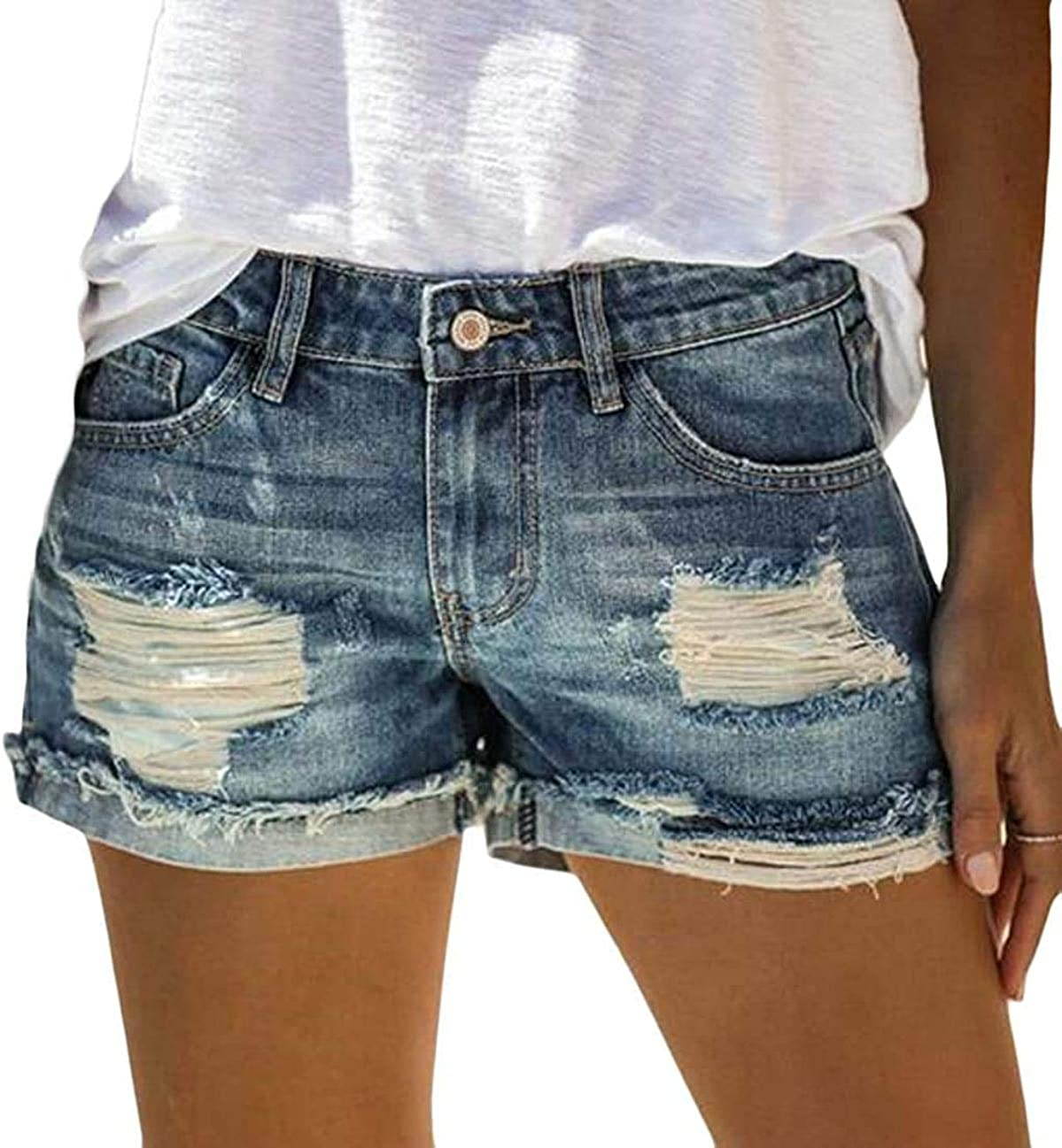 JNBGYAPS Women Summer Mid Waist Ripped Destroyed Denim Shorts Jeans