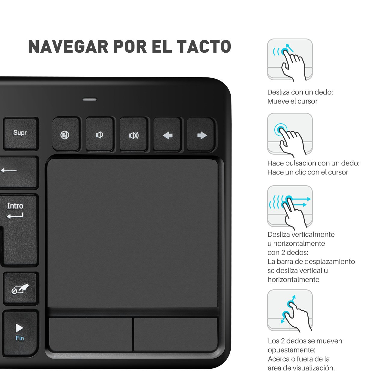 VICTSING Ultra Delgada Mini Teclado Inalámbrico Touchpad con 2.4G B Receptor, QWERTY Español Incluye Ñ para PC/Laptops/Tablet/Smart TV/Portátil – Negro: Amazon.es: Informática