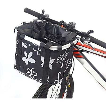Blue Flower Qiuhome Bike Front Basket Small Pet Dog Cat Carrier Basket Folding Removable Bicycle Handlebar Basket for Shopping//Picnic