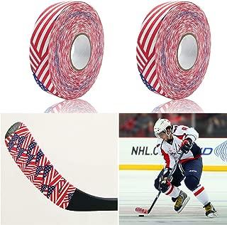Boaton 2Pcs Hockey Tape, Hockey Stick Tape, Hockey Grip Tape for Hockey Ice Field Lacrosse Sticks, 1 Inch Wide, 27 Yards Long (Black, White, US Flag)