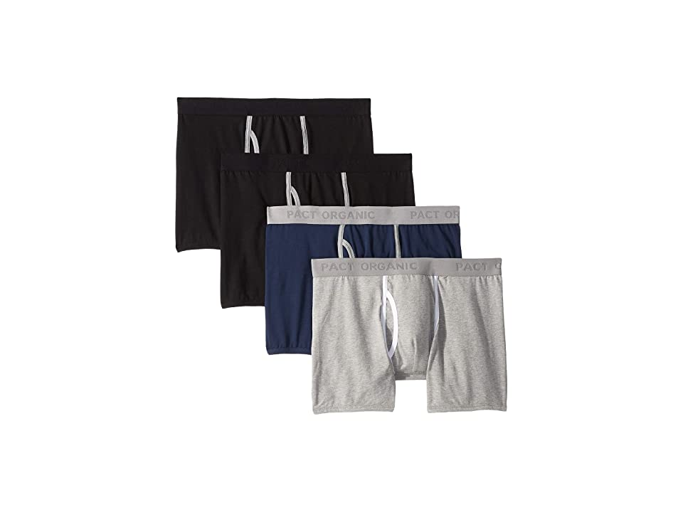 PACT Everyday Organic Cotton Boxer Brief 4-Pack (Black/Heather Grey/Navy) Men