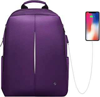 FINPAC Laptop Backpack, Nano-Molecular Water Repellent Anti Tear Fabric Daypack with USB Charging Port for Travel Business College Women Girls Fits 15.6 Inch Notebook (Purple)