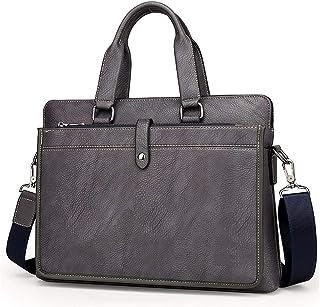 Djyyh Leather Men's Briefcase for 14'' Laptop Bag Shoulder Bag Handbag, Business Bag Office Work Document (Color : Gray)