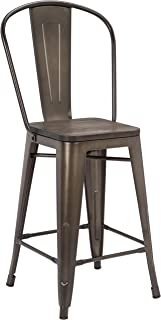 Pioneer Square Midvale 24-Inch Counter-Height Metal Stool with Back Rest, Set of 2, Stormy Gray