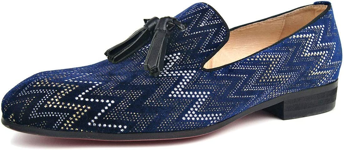Rui Landed Hand-Made Loafer for Men Boat Moccasins Shoes Slip On Style Premium Suede Genuine Leather Tassel Embroidery Texture Square Toe (Color : Blue, Size : 8 M US)