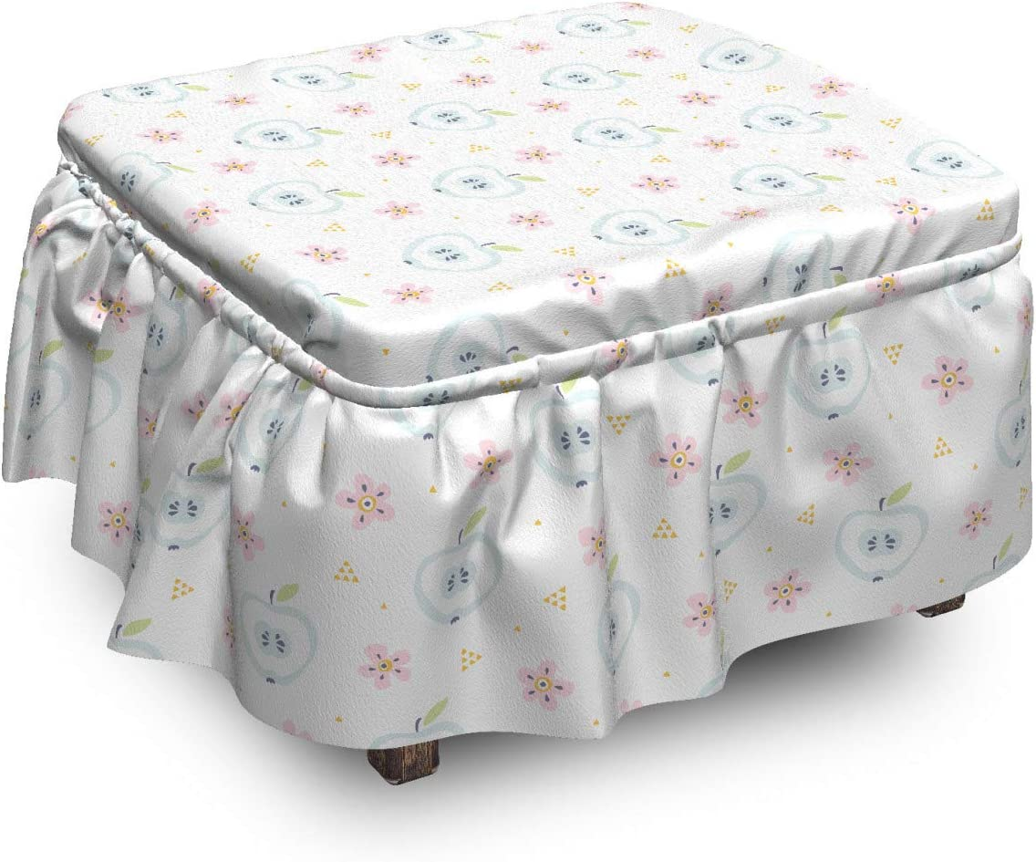 Easy-to-use Special Campaign Ambesonne Floral Ottoman Cover Soft Pie Flowers 2 Apples Fresh