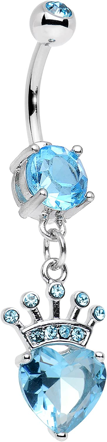 Body Candy Stainless Steel Brilliant Blue Accent Claddagh Inspired Heart and Crown Dangle Belly Ring