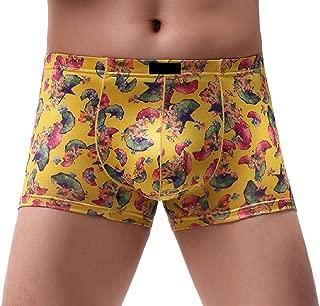 Men Soft Breathable Leaf Print Underpants Underwear Boxer Briefs