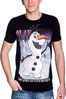 Camiseta de Frozen Disney para Hombre Olaf Worth Melting For The Frozen Elven Forest Cotton Black - S