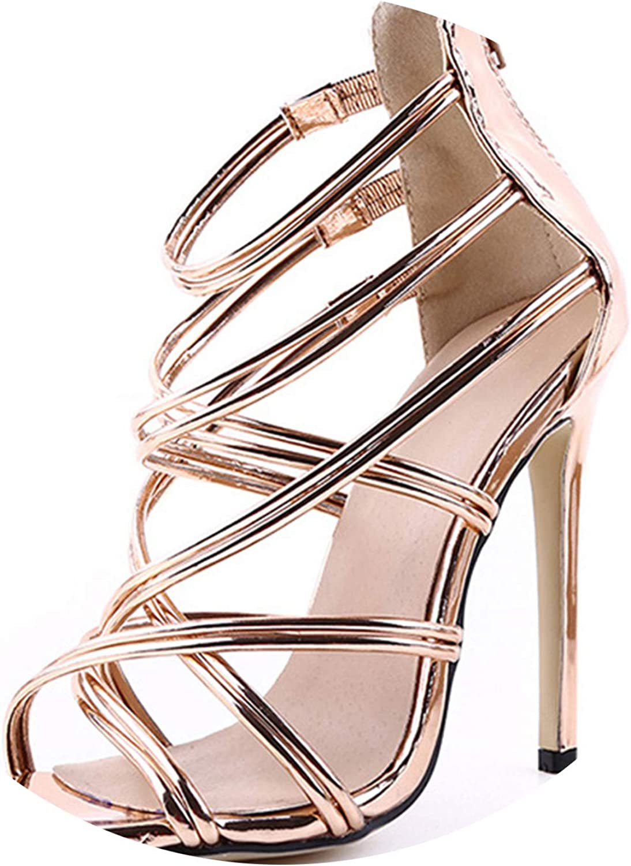 Oasrs 11Cm Thin High Heels Sandals Women Open Toe Cross Rap Leather Heels Wedding Party Ladies shoes