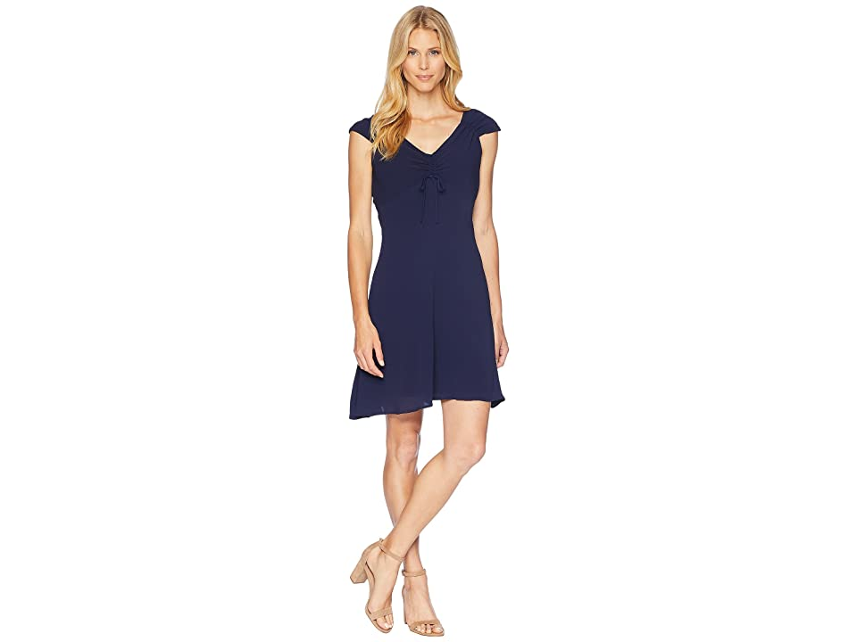 London Times Catalina Crepe Shirred Top Dress (Navy) Women