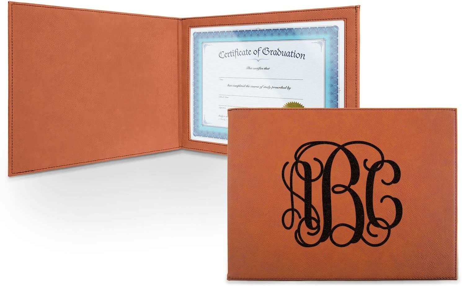 Monogram Leatherette Portland Mall Certificate Over item handling ☆ Holder - Personalized Front