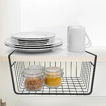 Ketsaal Pack of 1 Under Shelf Organizer Basket for Kitchen Cupboard/Almirah - 12 inch(Black)