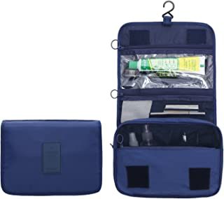 New Hanging Toiletry Bag Bathroom Organizer Travel Nylon Portable Cosmetic Bag for Women and Men (Navy Blue)