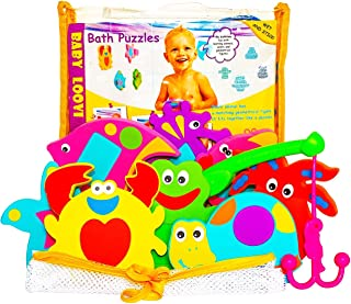 Non-Toxic Foam Bath Toys - Early Learning Bath Toy - Foam Geometric Shapes Puzzles Animals - Fun Floating Educational Toys For Toddlers Kids Boys Girls - Mesh Bath Toy Organizer - Free Fishing Rod