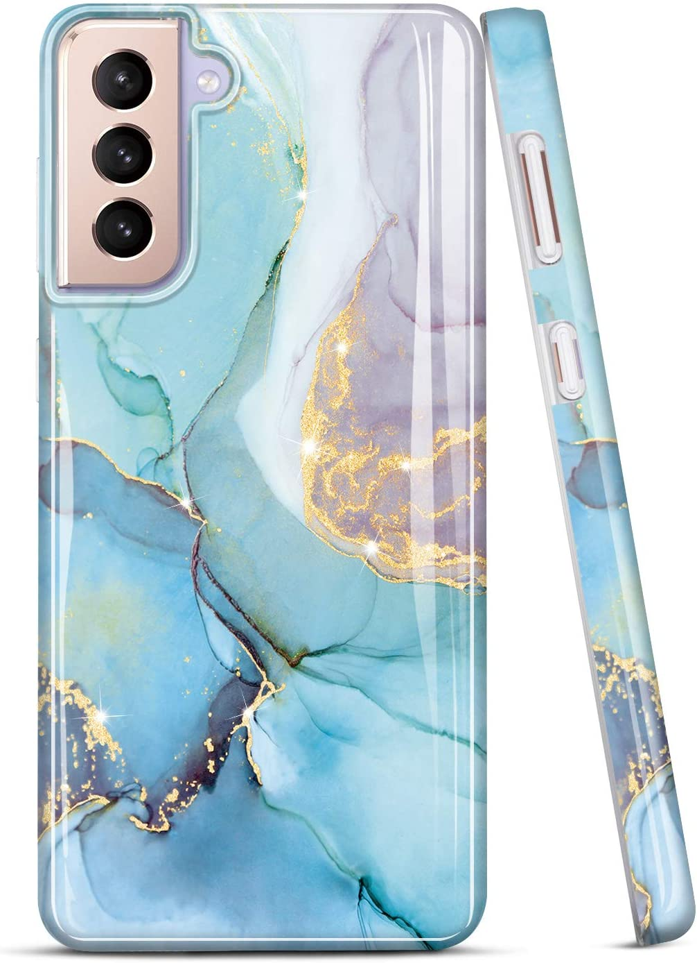 JIAXIUFEN Galaxy S21 Case Gold Sparkle Glitter Marble Slim Shockproof TPU Soft Rubber Silicone Cover Phone Case for Samsung Galaxy S21 5G 6.2 inch 2021 Mint Purple