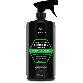 TriNova Leatherette, Vinyl and Faux Leather Cleaner & Conditioner - Keep Seats, Jackets, Pleather, Handbags, Sofas, Couches, Shoes, Boots & More Looking New