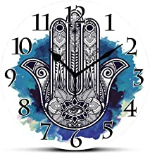 BCWAYGOD Silent Wall Clock,Evil Eye,Hamsa on Watercolor Brushstrokes Backdrop Amulet Floral Elements,Dark Blue Light Blue White Non Ticking Wall Clock/Desk Clock for Office Home Decor 9.5 inch