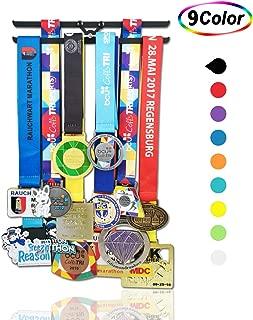 Kids Medal Hanger Holders display,runner,medal ribbons medal rack,gymnastics medal hanger hanging display,soccer medal hanger with shelf bib holder hanger in black color.All screws included.