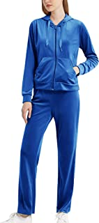 MessBebe Womens Velour Tracksuits Set Sportswear 2 Piece Sweatsuits Long Sleeve Loungewear Hoodie and Sweatpants Set