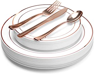 Rose Gold Rim Disposable Plastic Plates, with Rose Gold, Spoons, Forks & Knives, Elegant 125 Piece Dinnerware Set For Wedding or Party