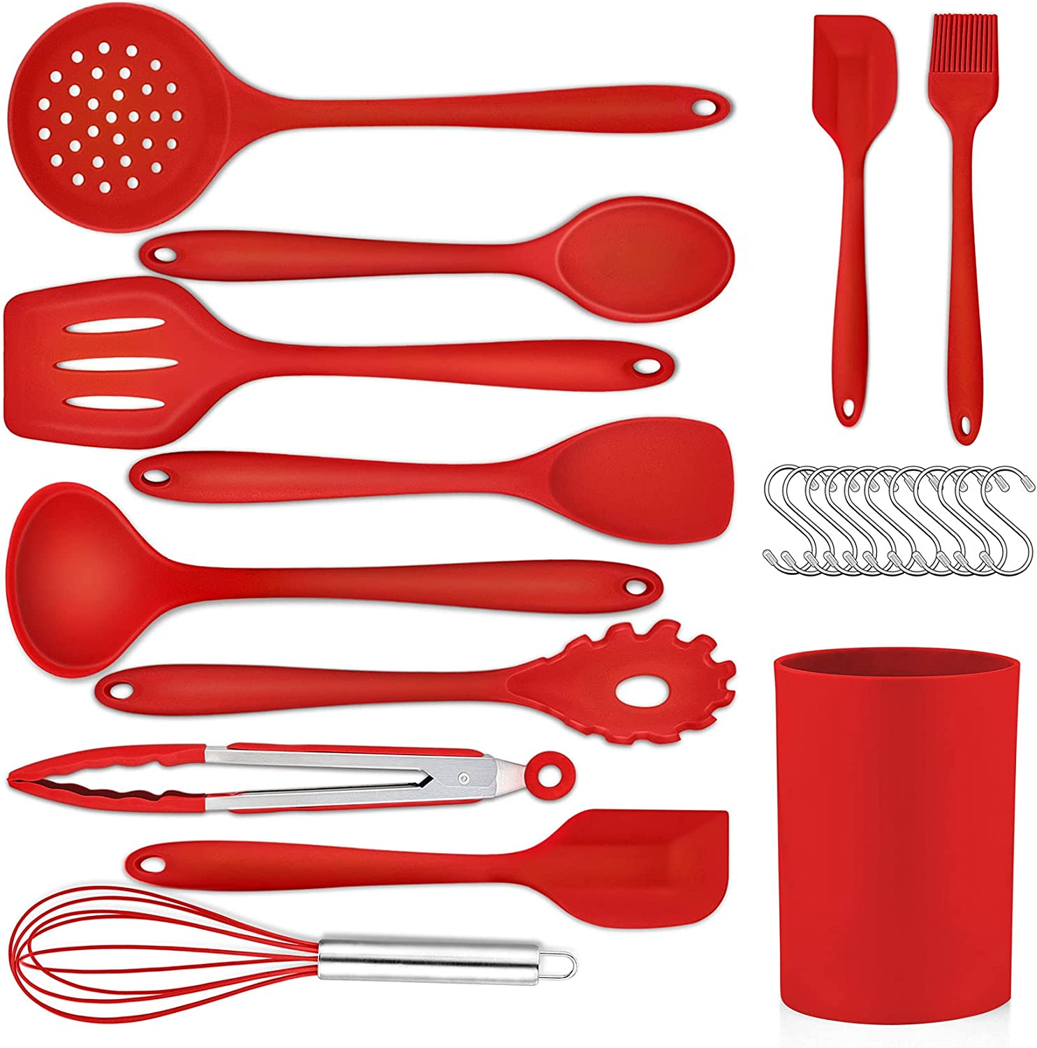 Red Kitchen Cooking Utensils Set- Silicone Free shipping anywhere Brand new in the nation CHEF Baki 23Pcs PP