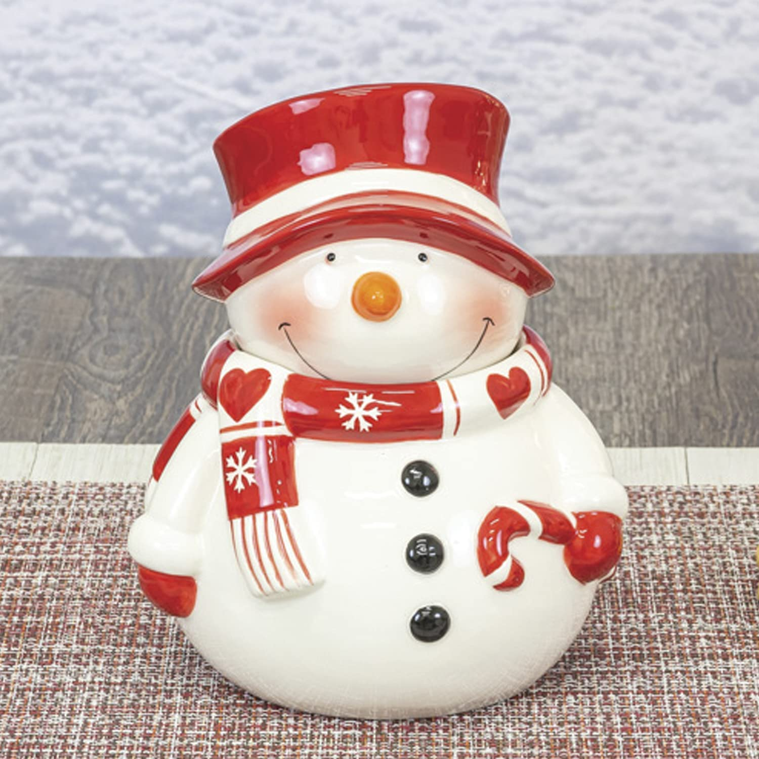 One Holiday Way 9-Inch Cute Red and White Ceramic Decorative Snowman Cookie or Candy Jar with Lid and Candy Cane - Christmas Tabletop Storage Canister Decoration - Xmas Office, Home and Kitchen Decor