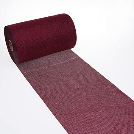 Deko AS GmbH Chemin de Table en Lin Aspect Shabby Chic 20cm–Bordeaux–5m–69–200–5–33