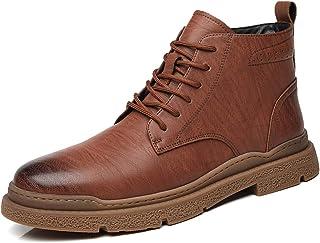 Bottes d'Oxford pour Hommes Brillants Chaussures à Bout Rond Plats Coutures à Talons Basse Talon en Cuir synthétique Caout...