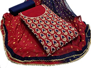 Riyan Enterprise Women's Chanderi Modal Multi & Pump-Pump Work Salwar Suit Set With Dupatta Najmeen