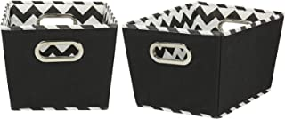 Household Essentials 71-1 Small Tapered Decorative Storage Bins with 2 Pack Set Cubby Baskets, Black Chevron