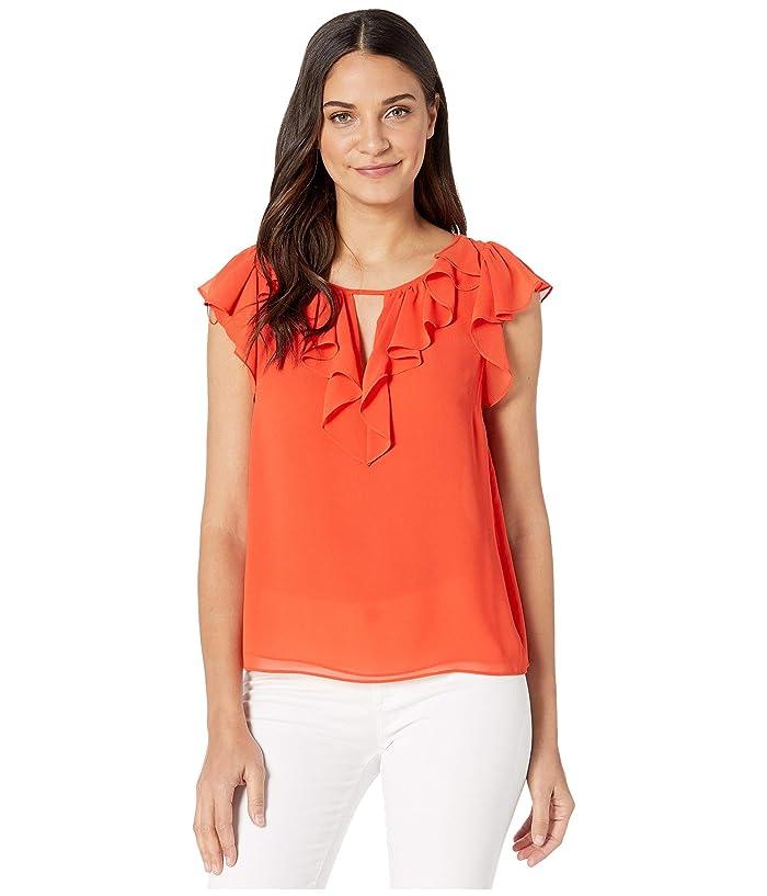 1.STATE  Short Sleeve Ruffled Flutter Sleeve Blouse (Papaya) Womens Clothing
