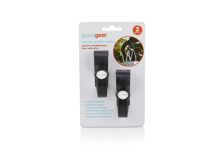 Good Gear 2-Piece TPE Stroller Hooks, Non-Slip Purse and Diaper Bag Hanger, Black