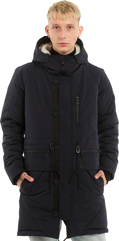 Men's Winter Parka Coat Warm Thicken Jacket with Warm Hood, Warm Winter Coats for Men, Long Hooded Parka Jacket, Blue.