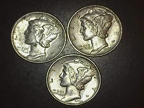 1942 1944 1945 Mercury Dimes - Set of 3 Coins - 10c AU/BU US Mint